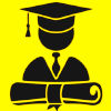 Yellow box with graduate icon inside